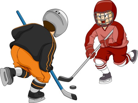 Illustration Featuring Little Boys Playing Ice Hockey Vector