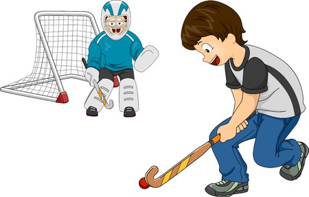 Illustration Featuring Little Boys Playing Indoor Hockey Vector