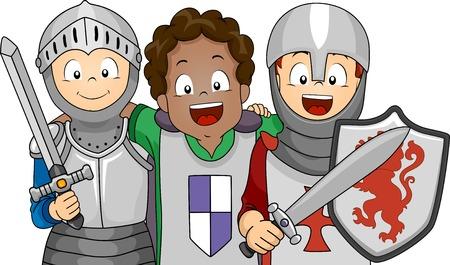 vestido medieval: Ilustración de un grupo de niños vestidos con trajes de caballero