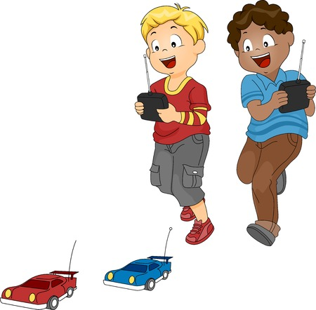 playthings: Illustration of a Pair of Boys Racing with Toy Cars