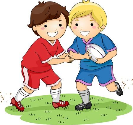 pelota de rugby: Ilustración con niños vestidos en Rugby Uniformes Demostrando una Tackle