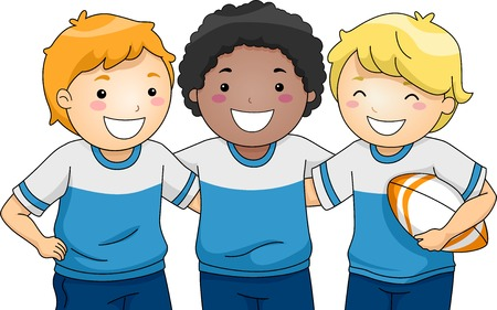 Illustration Featuring a Group of Smiling Boys Wearing Rugby Uniforms Vector