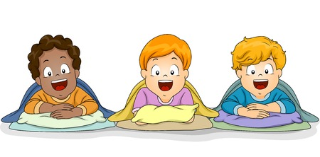 sleepover: Illustration of a Group of Boys Preparing for a Nap