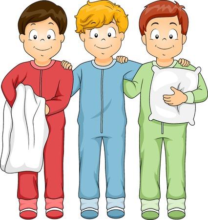 pijama: Ilustración con un grupo de muchachos que desgastan la camisa de dormir Vectores