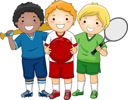 clip arts: Illustration Featuring Little Boys Wearing Different Sport Uniforms