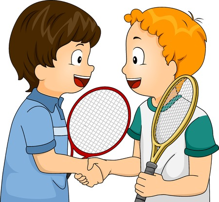 Illustration Featuring Young Tennis Players Shaking Hands Illustration