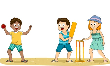 crickets: Illustration of a Group of Kids Playing Cricket at the Beach