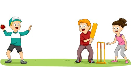 cricket: Illustration of a Group of Kids Playing Cricket in the Park Illustration