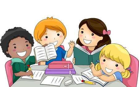 Ilustración con un grupo de niños que estudian junto Vectores