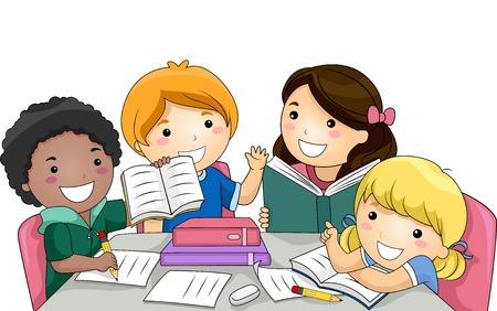 deberes: Ilustración con un grupo de niños que estudian junto Vectores