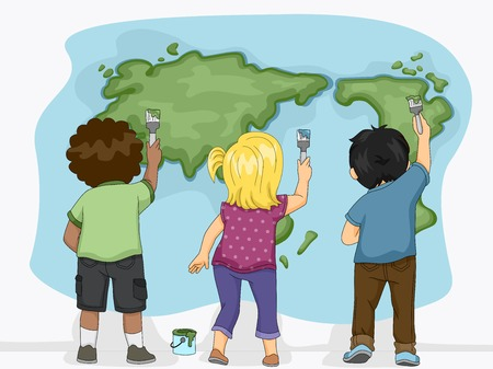 mural: Illustration Featuring Little Kids Painting a Map of the Earth