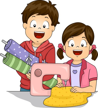 어떻게 바느질하는 작은 아이 학습을 특징으로 그림