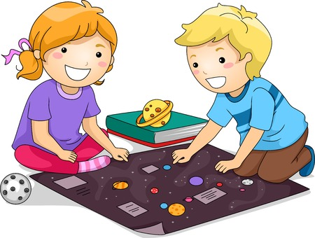 schooler: Illustration Featuring a Boy and a Girl Studying Planets Together