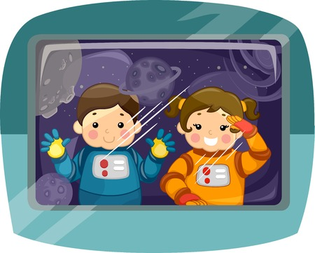 Illustration Featuring a Pair of Kids Wearing Space Suits Gazing into Space Vector