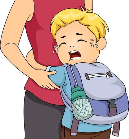 wenen: Illustratie van een Little Boy Crying Out Loud Whie vasthouden aan zijn moeder
