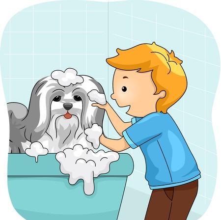 pamper: Illustration of a Little Boy Giving His Dog a Bath
