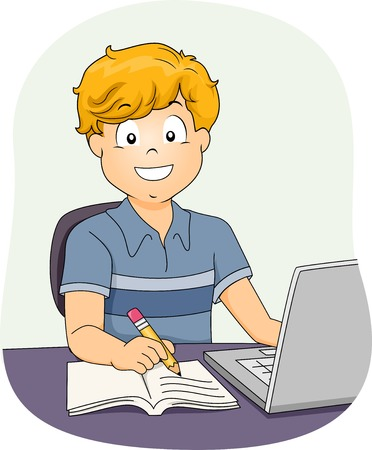 Illustration Featuring a Little Boy Using His Laptop While Working on His Assignment Vector