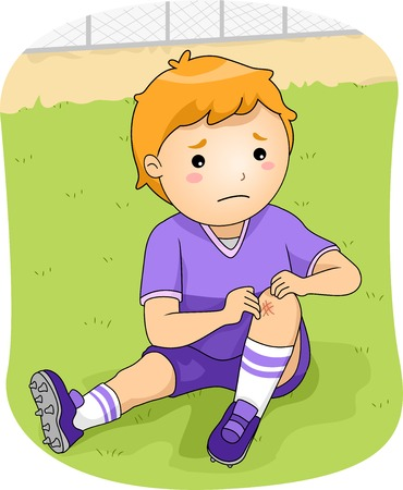 Illustration of a Little Football Player Checking His Injured Knee Vector