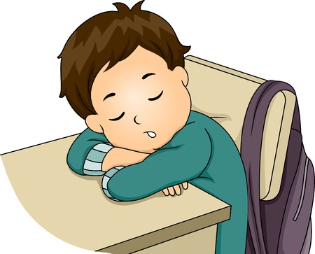 Illustration Featuring a Little Boy Sleeping in Class Vector