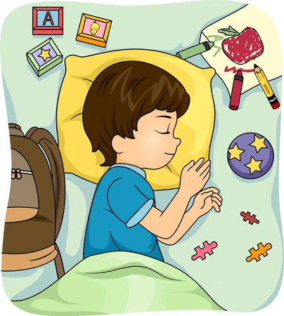 schooler: Illustration of a Sleeping Boy Surrounded by Educational Materials