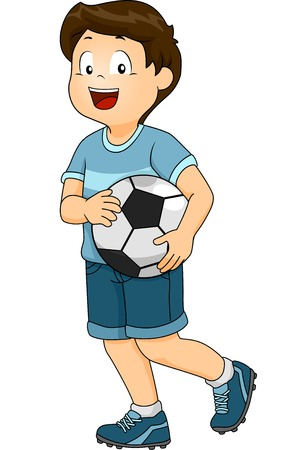 cartoon ball: Illustration Featuring a Boy Dressed in a Soccer Uniform Carrying a Soccer Ball Illustration