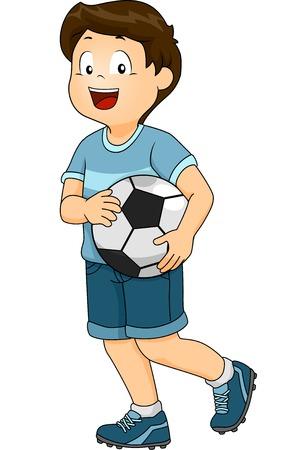 pelota caricatura: Ilustraci�n con un ni�o vestido con un uniforme de f�tbol llevando una pelota de f�tbol