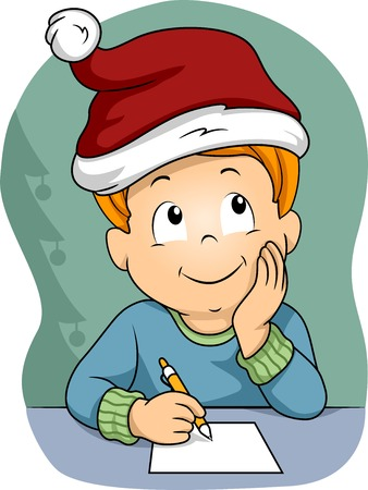 Illustration of a Little Boy Wearing a Christmas Hat Writing His Christmas Wish List Vector