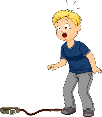 shocked: Illustration Featuring a Boy Shocked to Discover His Pet Missing