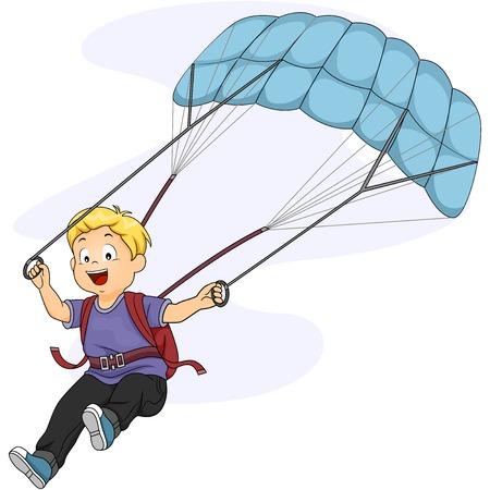 parapente: Ilustraci�n de un Little Boy Maniobrar su paraca�das
