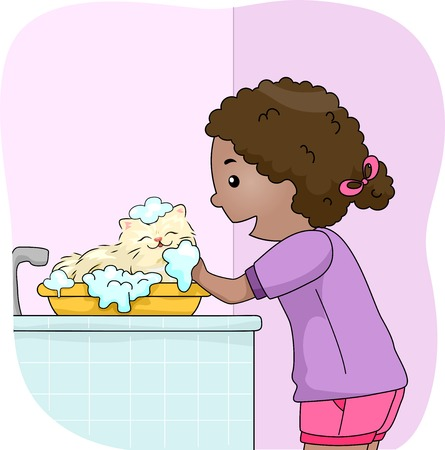 cat grooming: Illustration of a Little Girl Giving Her Cat a Bath Illustration