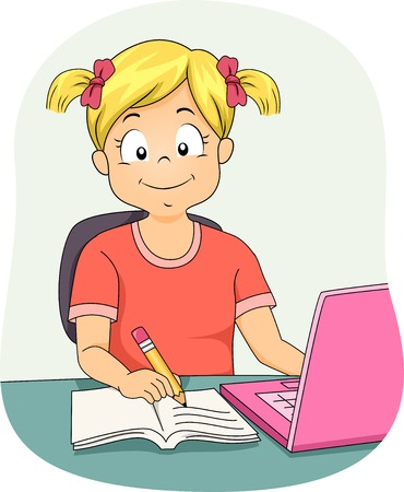 Illustration Featuring a Little Girl Using Her Laptop While Working on Her Assignment Vector