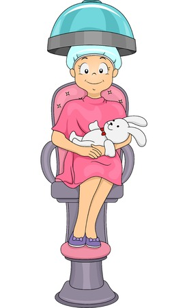 Illustration of a Little Girl Getting a Hair Treatment at the Salon Vector
