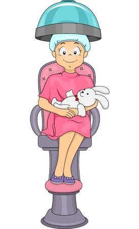 salon treatment: Illustration of a Little Girl Getting a Hair Treatment at the Salon