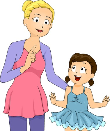 Illustration of a Little Girl Listening to Her Ballet Instructor Vector