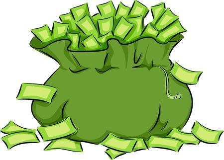 d�bord�: Illustration Dot� d'un sac vert D�bordant de tr�sorerie