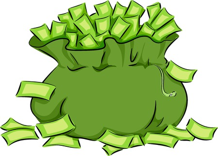 overflowing: Illustration Featuring a Green Bag Overflowing with Cash