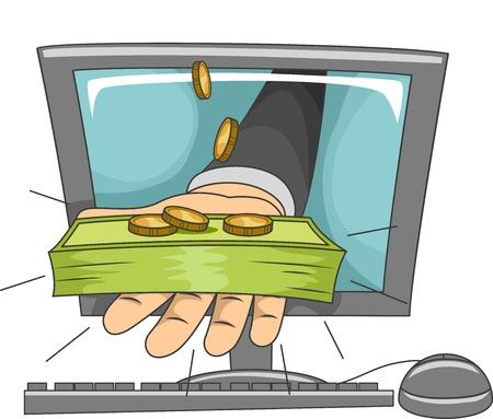 stack of cash: Ilustraci�n de una mano que sostiene una pila de efectivo que sobresale de un monitor de ordenador Vectores