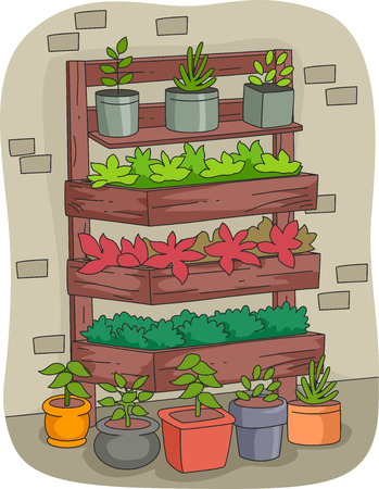 indoor garden: Illustration Featuring a Vertical Garden Filled with Different Plants