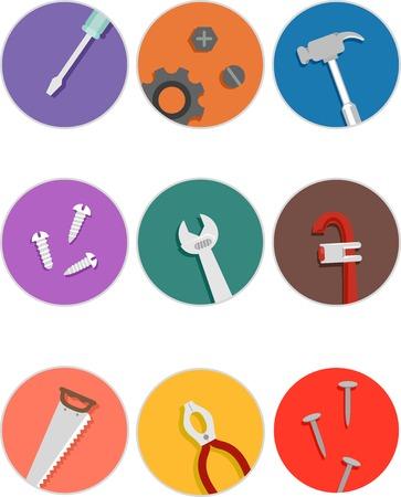 herramientas de mec�nica: Ilustraci�n con los iconos de las diferentes herramientas mec�nicas