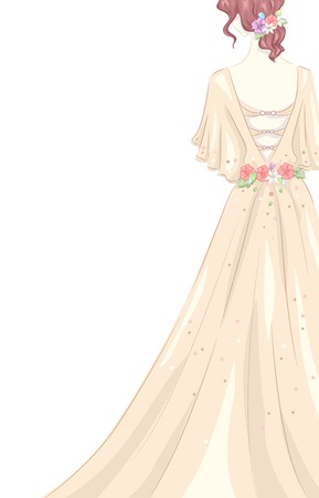 prom dress: Illustration of a Girl Wearing a Shabby Chic-Themed Gown Illustration