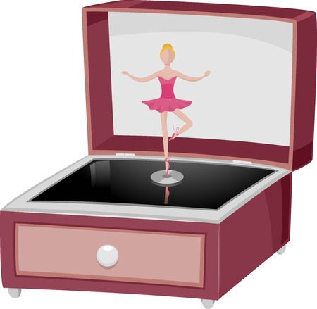 ballerina: Illustration Featuring a Music Box with a Dancing Ballerina
