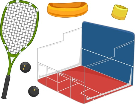 squash: Illustration Featuring Equipment Used for Playing Squash