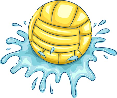 Illustration Featuring a Water Polo Ball with Water Splashing Around Illustration