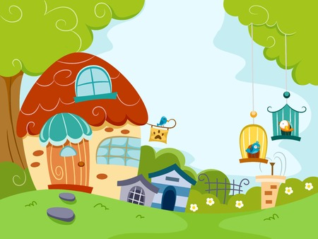 Illustration Featuring a Pet Shop Housing Different Pets  Vector