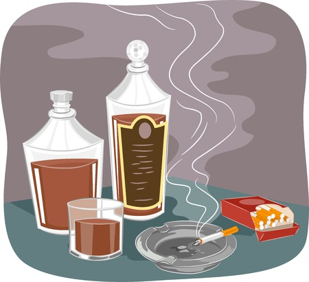 vices: Illustration Featuring Bottles of Liquor and a Pack of Cigarettes Illustration