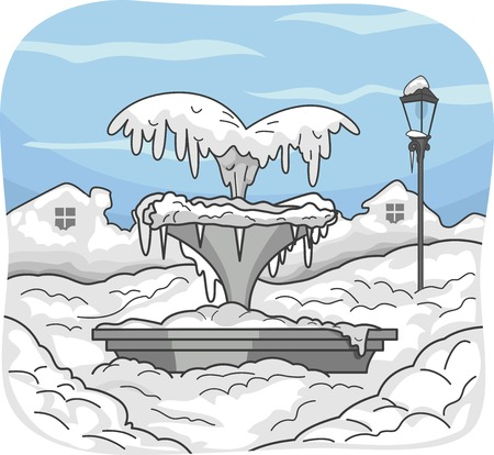 Illustration Featuring a Frozen Water Fountain Illustration