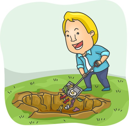 adding: Illustration of a Man Adding Biodegradable Waste to His Compost Pit