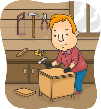 constructing: Illustration of a Man Constructing a Table on His Own