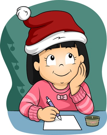Illustration of a Little Girl  Wearing a Christmas Hat Writing Her Christmas Wish List Vector