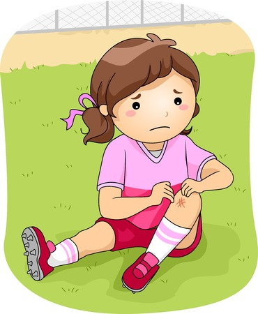 injured person: Illustration of a Little Football Player Checking Her Injured Knee Illustration